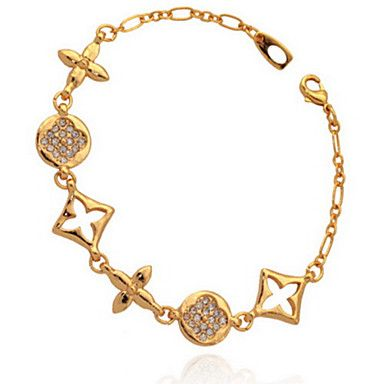 U7 New Women's Bracelet European Brand Fancy Jewelry 18K Real Gold Platinum Plated Rhinestone Chain Gift for Women 19CM – AUD $ 6.59