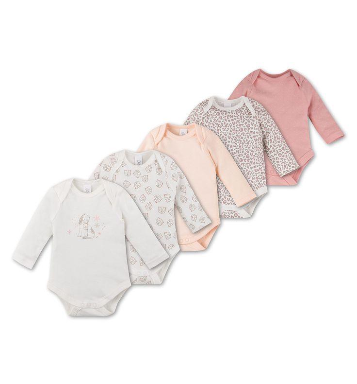 5er Pack Baby-Bodies aus Bio-Baumwolle in cremeweiß