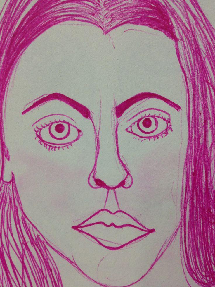 #pink #pen #selfportrait #autorretrato