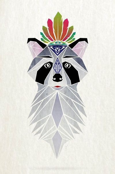 5/11/14 │ Raccoon Spirit Art Print by Manoou, via Society6 │ The geometric art prints show how simple lines convert into shapes revealing a final picture. │