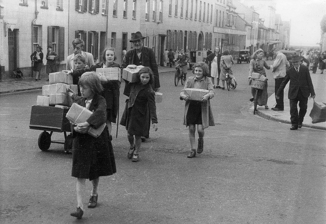 Children in Jersey with food parcels People of Jersey receiving Red Cross food parcels at St Helier during the German occupation, 1945.