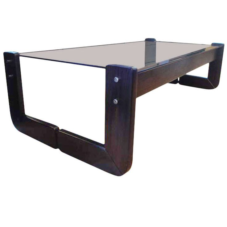 Percival Lafer Rosewood & Smoked Glass Coffee Table