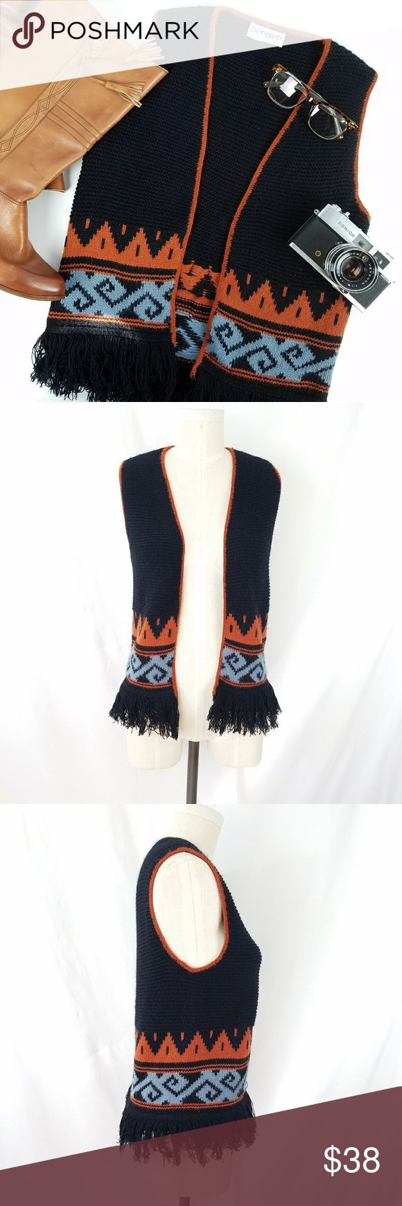 Vintage Penrose Southwestern Knit Vest 100% acrylic  Open front (no closure) Fringe hemline Excellent vintage condition!  PLEASE READ CLOSET INFO AND POLICIES POST Vintage Jackets & Coats Vests