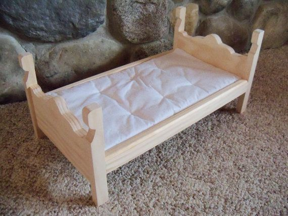 Wooden Bed & Mattress made for 18 inch doll by TheFrogpondWorkshop, $25.00