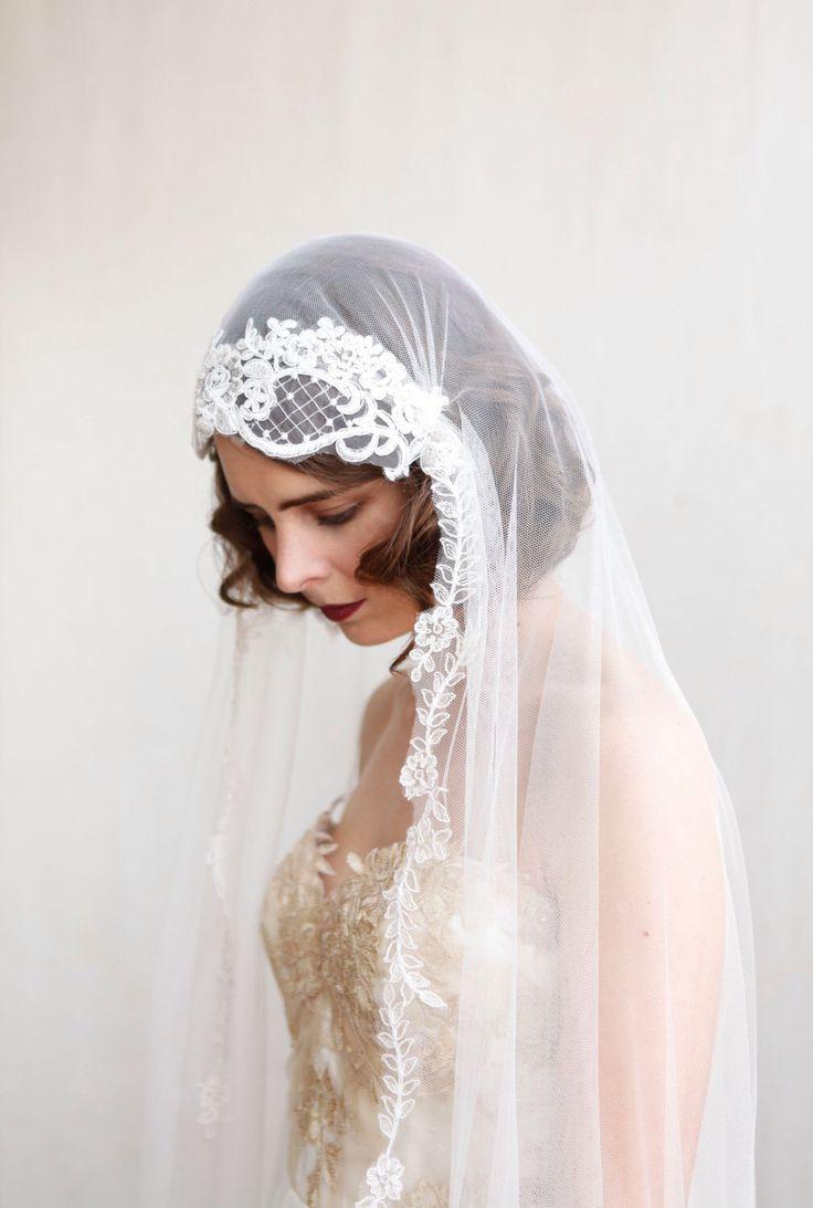 1920s wedding veil ivory chapel length veil art deco wedding veil 1930s wedding veil cathedral length veil