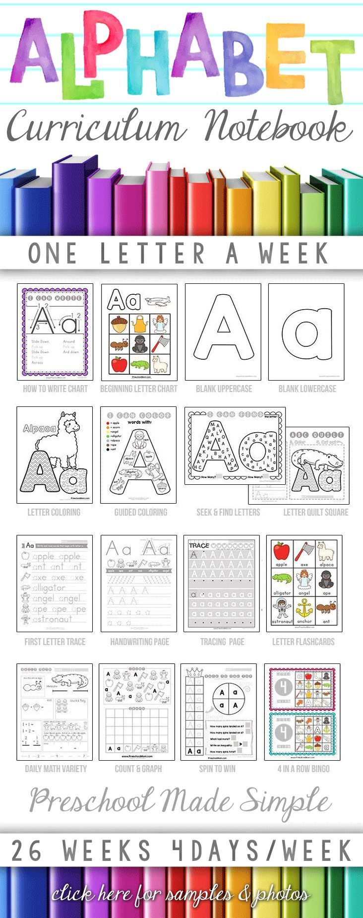 Alphabet Curriculum Notebook from Preschool Mom. http://craftyclassroom.com/product/letter-of-the-week-curriculum-binder/ Low Prep, Low Ink, Print Ready. Perfect for Home Preschool, or K4 Curriculum. Classroom License Available. http://craftyclassroom.com/product/letter-of-the-week-curriculum-binder/