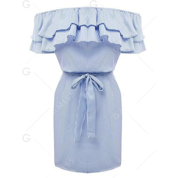 Off The Shoulder Flounce Belted Striped Dress (€12) ❤ liked on Polyvore featuring dresses, gamiss, ruffled dresses, blue striped dress, striped dresses, flutter-sleeve dresses and off shoulder dress