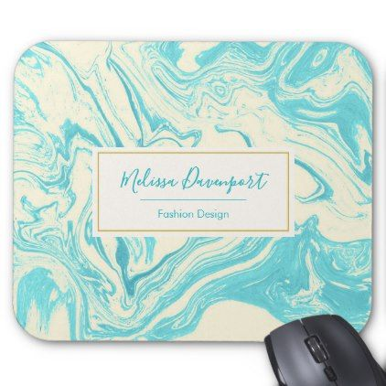Cool Marble Design in Turquoise and Cream Custom Mouse Pad - cool gift idea unique present special diy