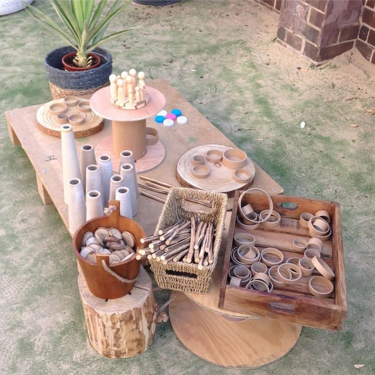 """(@places_spaces_wonder_delight) on Instagram: """"Setting up some loose parts play in the beautiful sunshine today ☀️ #childcare #earlyeducation…"""""""