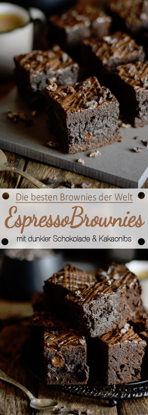 Espresso-Brownies mit dunkler Schokolade und rohen Kakaonibs
