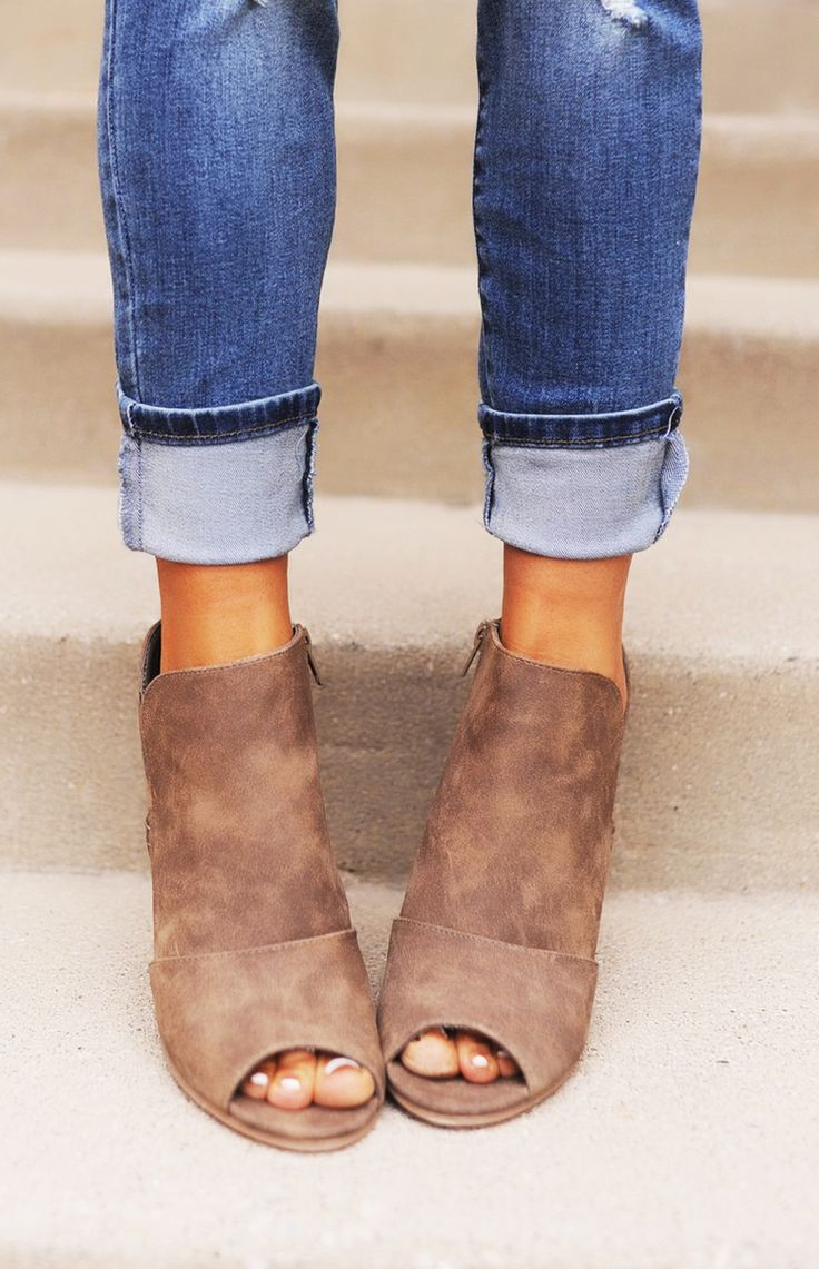 Taupe Peep Toe Ankle Bootie - Dottie Couture Boutique