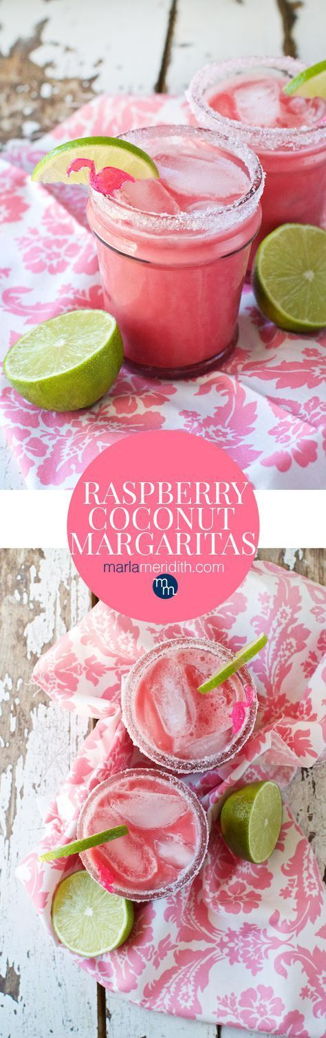 Raspberry Coconut Margaritas recipe: cool, creamy and berrylicious! MarlaMeridith.com ( @marlameridith )