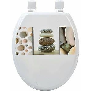 Evideco Toilet Seat Wood Design Belle Ile Pebbles, Grey