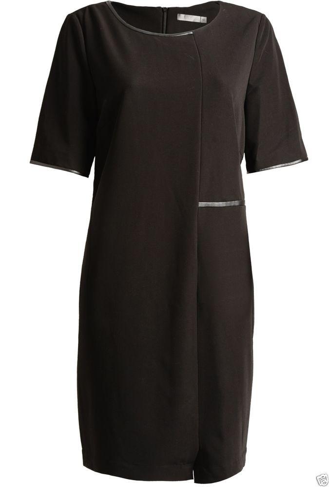 UNQ Kleid in Schwarz mit Lederpaspe, NEU, Winter 2015, Gr. 40, 42, 44