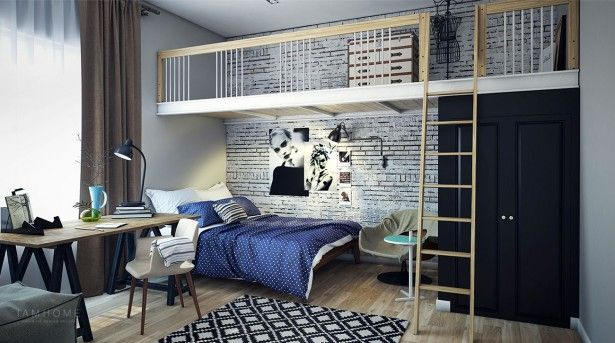 Interior Dual Level Bedroom On Mezzanine Style With Stylish Furniture Big Wooden Ornaments Wooden Mirror Frames And Square Patterned Carpet With An Arise Wall Ideas Best Modern Home Design Interior Decor For A Youthful Family
