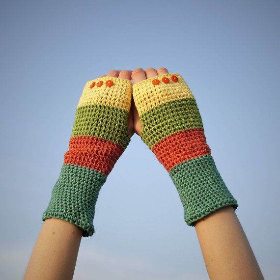 Orange Green Yellow Fingerless Gloves / 100% Cotton by RUKAMIshop