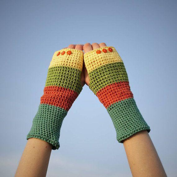 Orange Green Yellow Fingerless Gloves / 100% Cotton by RUKAMIshop