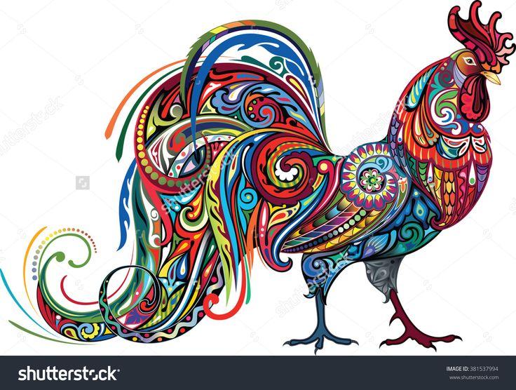 Bright Cockerel Стоковая векторная иллюстрация 381537994 : Shutterstock
