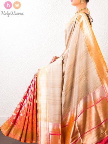 #Beige #Handwoven #Tasar #Silk #Cutwork #Brocade #Saree #HolyWeaves
