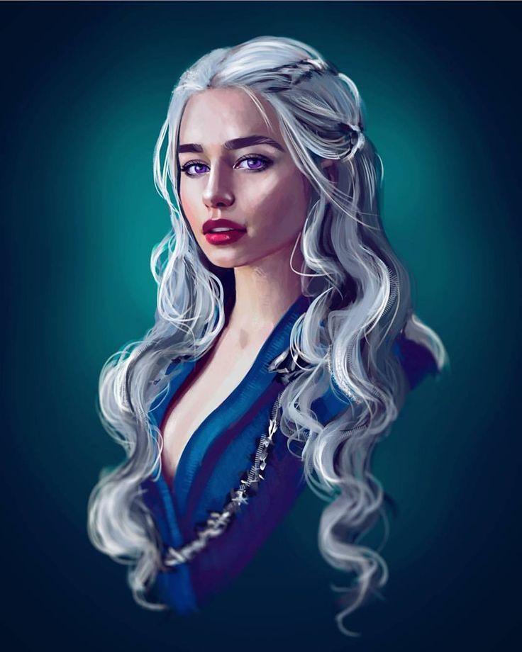 "77 Likes, 3 Comments - Daenerys/Aegon Targaryen❄ (@iceandfire.got) on Instagram: ""Daenerys Stormborn Targaryen . . artist @abigaile_hawk_art . . A young woman in her early teens…"""