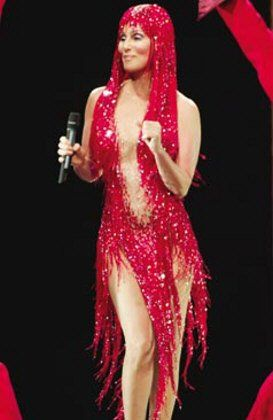 "April 2011  Cher's red version of the ""Take Me Home"" bugle beaded outfit"