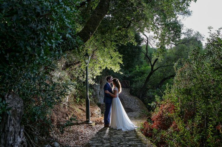 Just love - Lovely natural scenery - Hug between the trees #weddingphotos #weddingingreece #mythoswedding #kefalonia