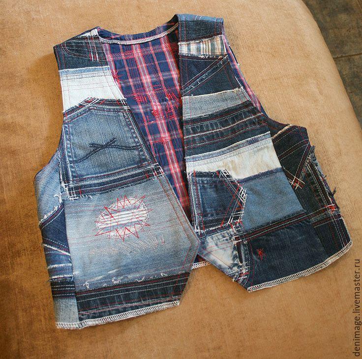 """Купить Джинсовый жилет """"Хочу к морю"""" - Жилет женский, жилет, джинсовый стиль, хиппи стиль"""