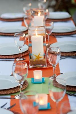 A coastal take on your traditional holiday table setting! We love! #nocatee #coastal #Thanksgiving