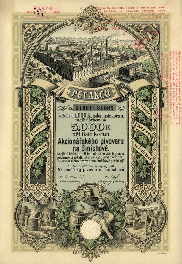 Akcionářský pivovar na Smíchově (Actienbrauerei in Smichow). Akcie na 5x 1 000 Korun (5 000 K). Smíchov (Praha), 1939. Dnes Pivovary Staropramen s. r. o.