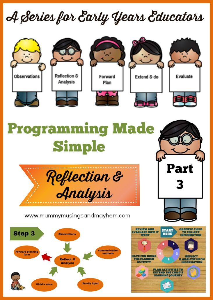 Early childhood programming series for educators, leaders and teachers - tips for making it simple but effective. Part 3 discusses analysis and reflection in planning and documentation. See more at Mummy Musings and Mayhem.
