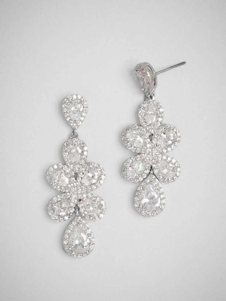 Classic Formal Hollywood Glam Nautical/Preppy Romantic Bauble Bar Crystal Earrings Multiple Stones Pear Silver Unique Wedding Jewelry Photos...