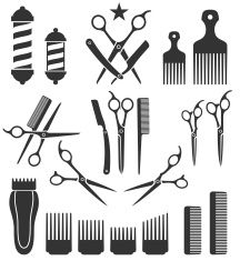 Barber Tools for Haircut black and white vector icon set vector art illustration