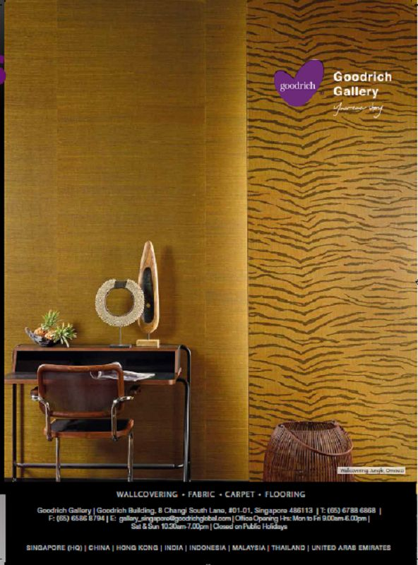 An advertisement of Goodrich Global in DCRS decoration Volume. 108, featuring a wallcovering from the Jungle Collection, Omexco.