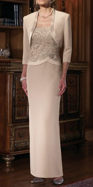Best Selling! New Long Column Champagne Mother of the Bride Dresses with Jacket 3/4 Sleeve Straps Beads Lace Chiffon Formal Gowns Custom