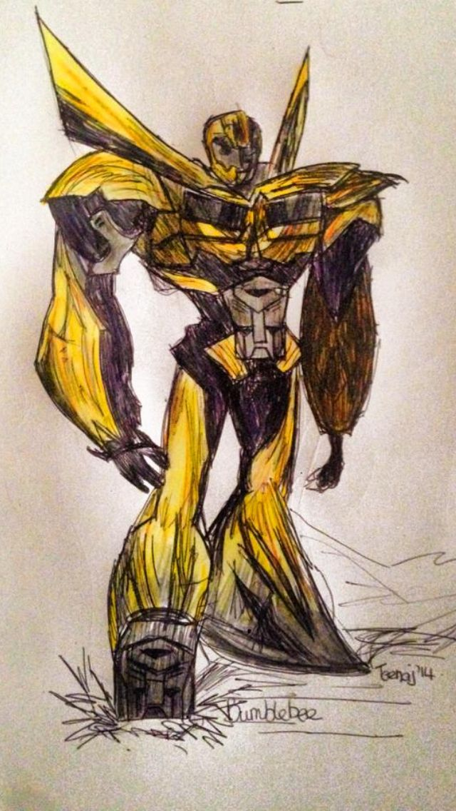"""""""Bumblebee"""" from Transformers. This one I sketched in pen and then coloured pencils. Bumblebee kicks ass."""
