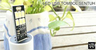 LED USB Touch Switch 6 mata LED Cool White 6000K. Lampu LED USB ini menggunakan tombol sentuh sebagai saklar lampu.