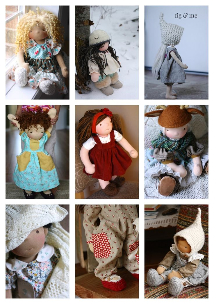 Lots of different styles of doll clothing, for your waldorf inspired or natural fiber art doll, by Fig and Me.