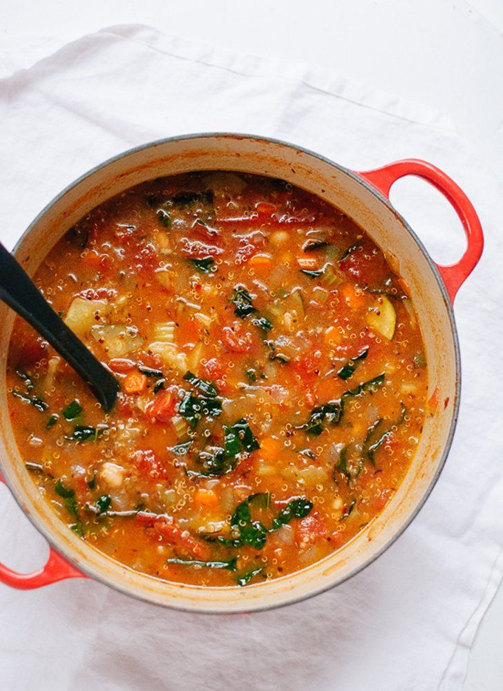 Pin for Later: All the Courgette Recipes You'll Need This Summer Tomato and Quinoa Soup With Courgette, Bell Peppers, and Kale Get the recipe: tomato and quinoa soup with courgette, bell peppers, and kale.
