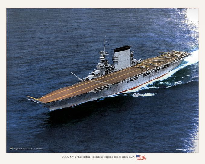 rare color picture of the uss lexington cv 2 underway in 1929