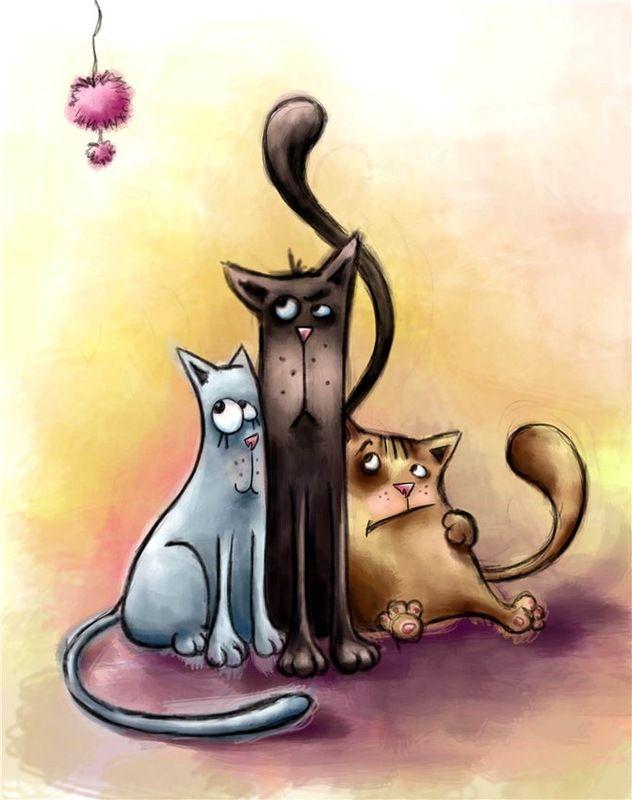 Смешные коты картинки нарисованные смешные