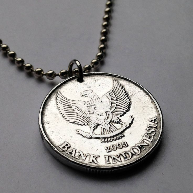 2003 Indonesia 500 Rupiah coin pendant Garuda Pancasila mythical golden eagle Indonesian myth Jasmine flower Kelapa Sawit necklace n001974 by coinedJEWELRY on Etsy