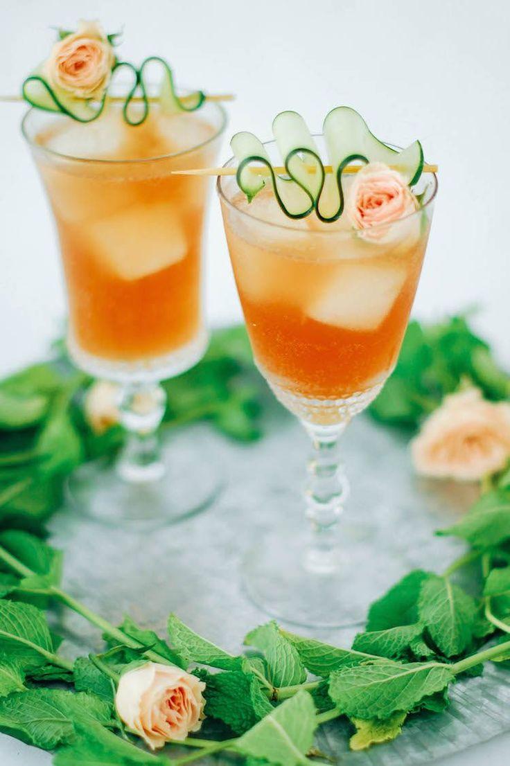 pimm and proper // 1 1/2 oz Pimms 1/4 oz St. Germain or other elderflower liqueur 1/4 cucumber, muddled 1 oz lemon juice 1 oz rose syrup 2 oz club soda