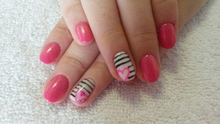 Pink with stripe design #biosculpture