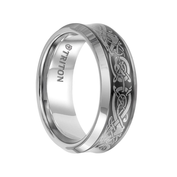 Triton Rings - HUGO Beveled Tungsten Carbide Wedding Band with Black Concave Center and Dragon Pattern Engraving - 8 mm