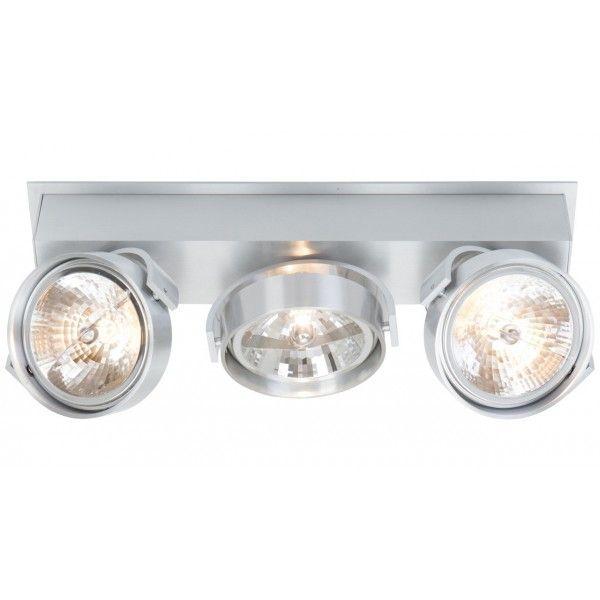 Verstelbare 3-lichts aluminium plafondlamp / spot (draaibaar en kantelbaar). Deze industrieel ogende spot kan op de wand en aan plafond gemonteerd worden. Inclusief 3 x QR111 lampen 50 watt . Uit de serie West Point.
