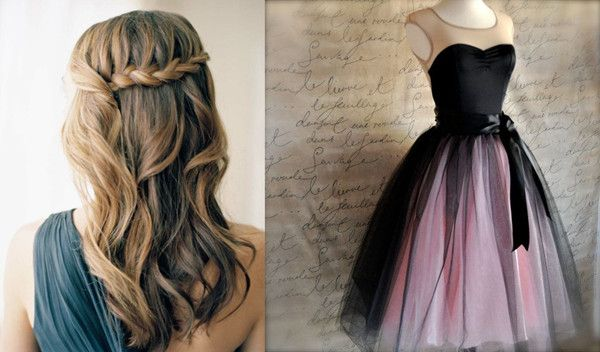 treccia capelli mossi voluminosi con il vestito soft tulle rosa
