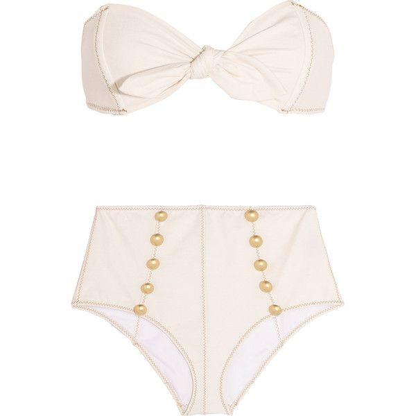 Lisa Marie Fernandez Poppy stretch-denim bandeau bikini ($155) ❤ liked on Polyvore featuring swimwear, bikinis, swimsuit, bikini, bathing suits, beach, cream, high waisted swimsuit, bandeau top bikini and swimsuits bikinis