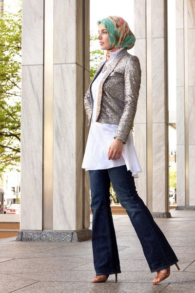 Sequin jacket + long top paired with flared jeans and a scarf! So french!
