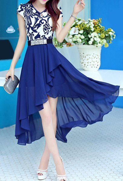 Bohemian V-Neck Short Sleeve Printed Spliced Chiffon Asymmetrical Dress For Women