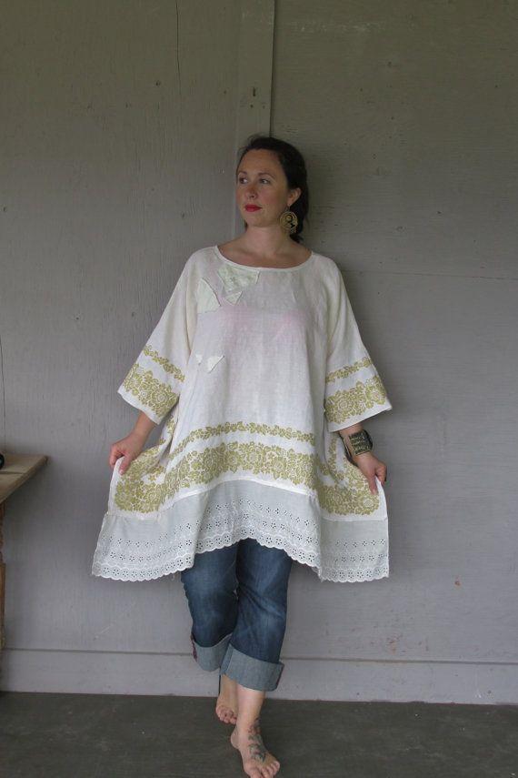 Linen tunic Romantic upcycled plus size clothing 3 X 4 X Vintage French shabby chic Lagenlook tunic Eco Boho oversize top LillieNoraDryGoods